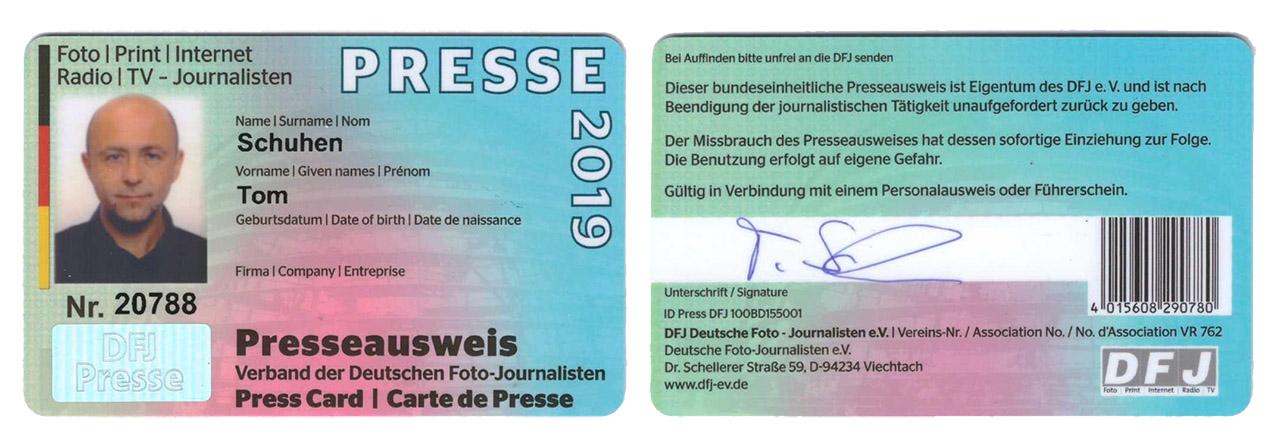 Presseausweis Tom Schuhen